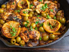 One Pan Moroccan Lemon Olive Chicken